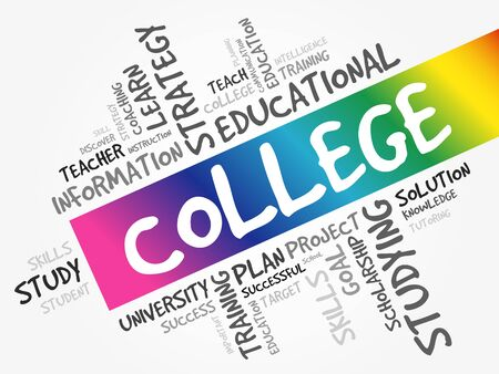 COLLEGE word cloud collage, education concept background 向量圖像