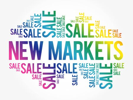 New Markets word cloud collage, business concept background