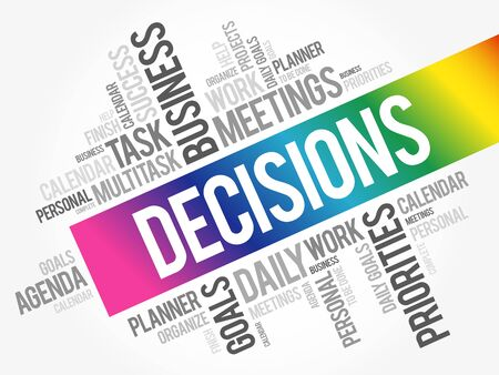 DECISIONS word cloud collage, business concept background