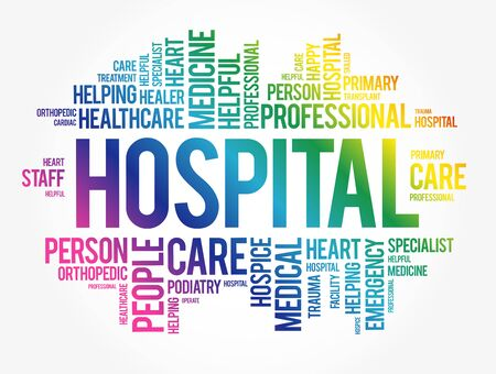Hospital word cloud collage, healthcare concept background