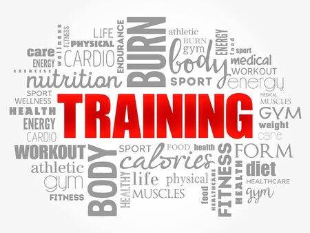 TRAINING word cloud collage, education concept background Vectores