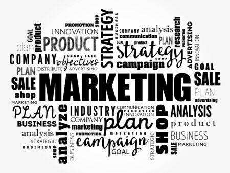 Marketing-Wortwolkencollage, Geschäftskonzepthintergrund Vektorgrafik