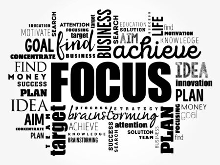 FOCUS word cloud collage, business concept background