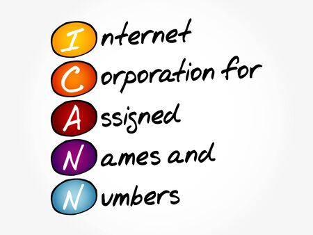 ICANN - Internet Corporation for Assigned Names and Numbers acronym, technology concept background