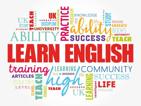 Learn English word cloud collage, education concept background Vetores