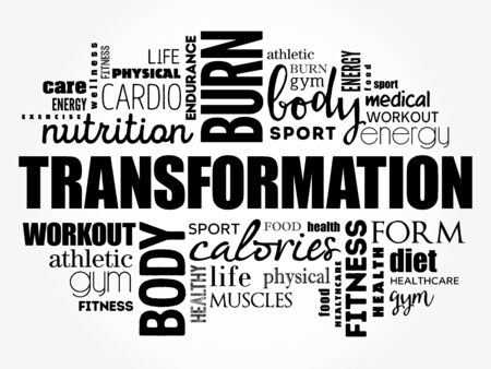 TRANSFORMATION word cloud, fitness, sport, health concept background