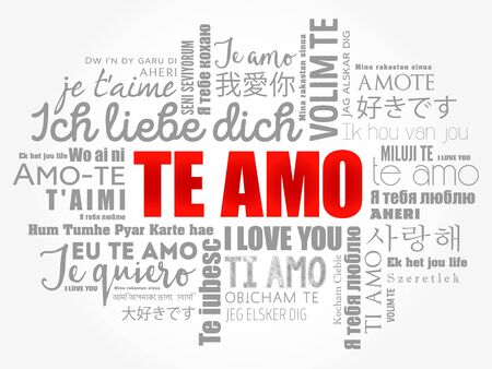 Te Amo (I Love You in Portuguese) in different languages of the world, word cloud background