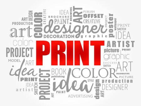 PRINT word cloud, creative business concept background Illusztráció