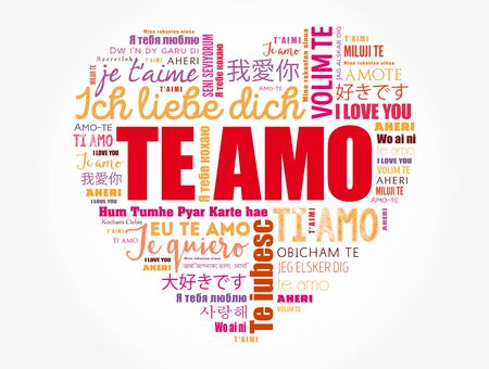 Te amo (I Love You in Spanish) love heart word cloud in different languages of the world