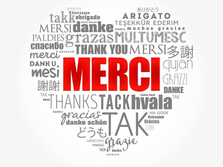 Merci (Thank You in French) love heart word cloud in different languages Illustration