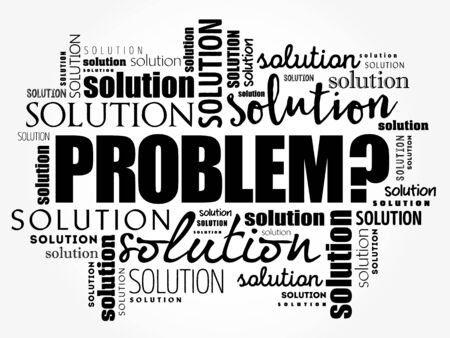 Problem and solution word cloud collage, business concept background