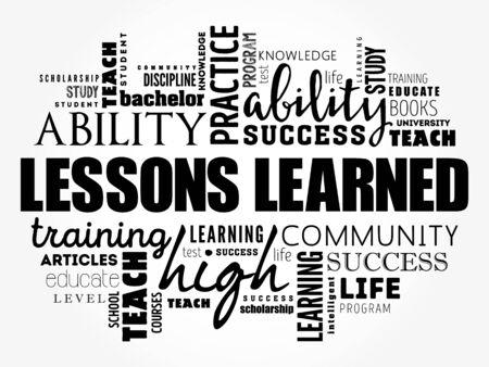 Lessons Learned word cloud collage, education concept background Vecteurs