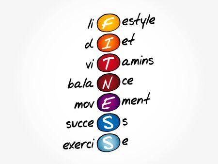 FITNESS - Lifestyle diet vitamins balance movement success exercise acronym, health concept background