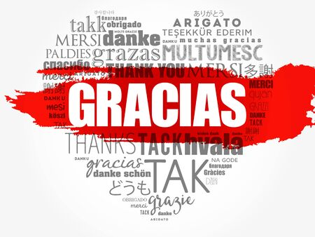 Gracias (Thank You in Spanish) love heart Word Cloud in different languages of the world