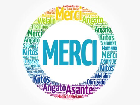 Merci (Thank You in French) Word Cloud background, all languages, multilingual for education or thanksgiving day
