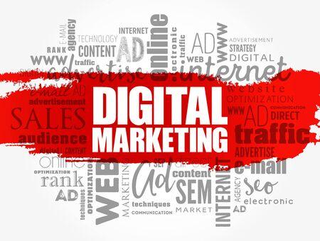 Digital Marketing word cloud collage, business concept background Vektoros illusztráció