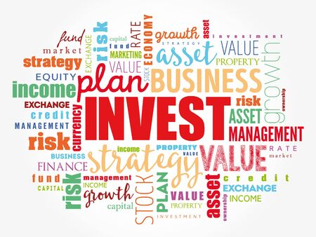 INVEST word cloud collage, business concept