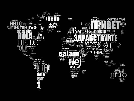 Hello in different languages word cloud World Map, business concept background Vetores