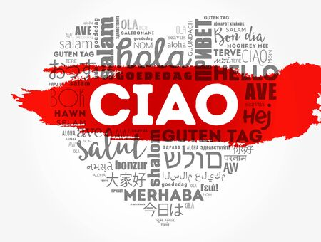 Ciao (Hello Greeting in Italian) heart word cloud in different languages of the world Illustration