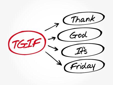 TGIF - Thank God It's Friday acronym, concept background