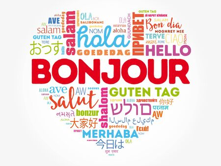 Bonjour (Hello Greeting in French) heart word cloud in different languages of the world