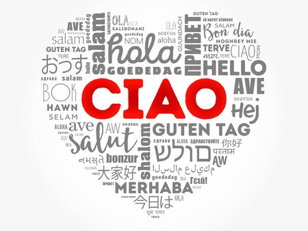 Ciao (Hello Greeting in Italian) heart word cloud in different languages of the world Illusztráció