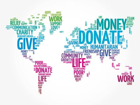 Donate word cloud in shape of world map, social concept background