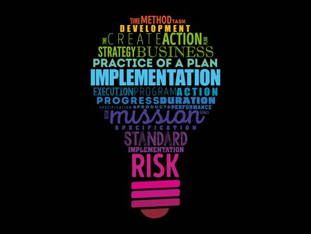 Implementation light bulb word cloud collage, business concept background 일러스트