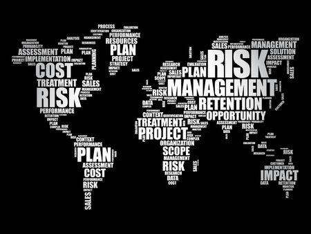 Risk Management word cloud in shape of World Map, business concept background Illustration