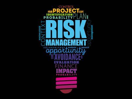 Risk Management light bulb word cloud, business concept background