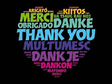 Thank You Word Cloud in different languages, heart concept background