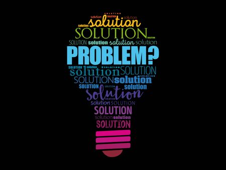 Problem and solution light bulb word cloud collage, business concept background