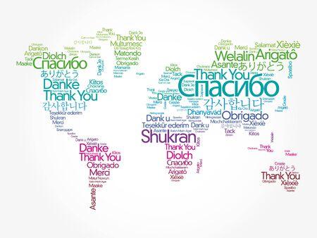 Gracias en diferentes idiomas nube de palabras en forma de mapa del mundo, concepto de fondo Ilustración de vector