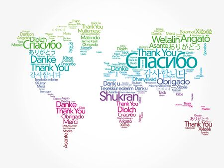 Thank You in different languages word cloud in shape of World Map, concept background Vetores