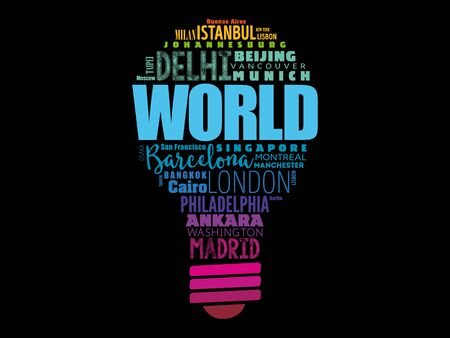 WORLD light bulb word cloud concept made with words cities names, business concept background