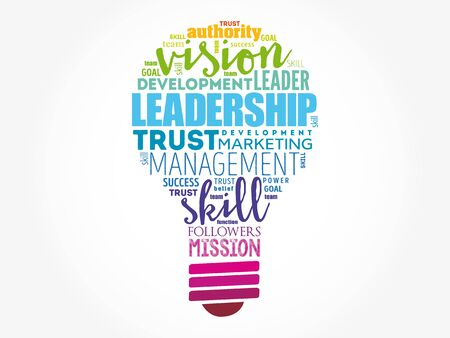 LEADERSHIP light bulb word cloud collage, business concept background