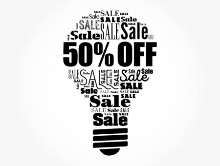 50 percen Off Sale light bulb word cloud collage, business concept background