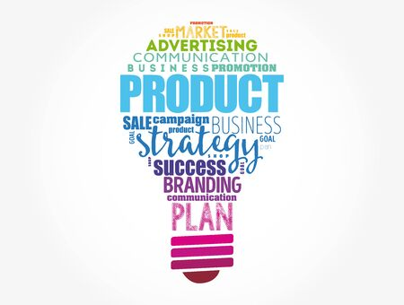 PRODUCT light bulb word cloud collage, business concept background Ilustração Vetorial