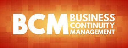 BCM - Business Continuity Management acronym, business concept background