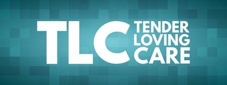 TLC - Tender Loving Care acronym, concept background Иллюстрация