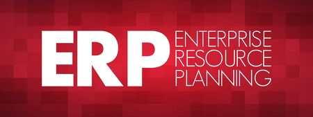 ERP - Enterprise Resource Planning acronym, business concept background