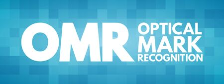 OMR - Optical Mark Recognition acronym, technology concept background