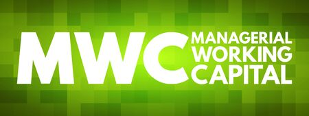 MWC - Managerial Working Capital acronym, business concept background 矢量图像