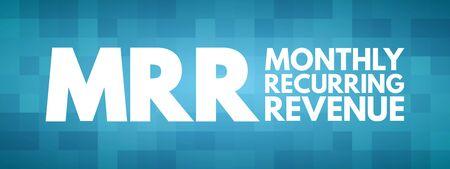 MRR - Monthly Recurring Revenue acronym, business concept background Vektoros illusztráció