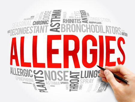 Allergies word cloud collage, health concept background 版權商用圖片