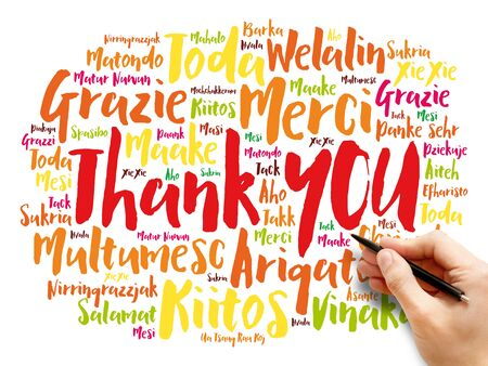 Thank You word cloud in different languages, concept background Banque d'images