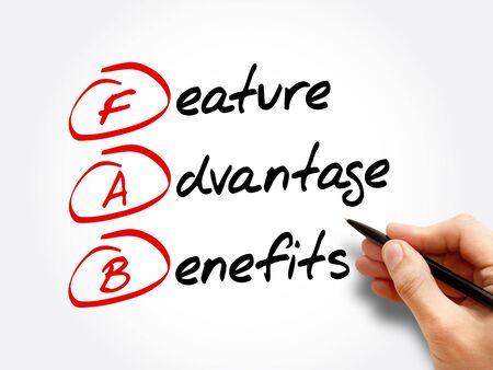 FAB - Feature Advantage Benefits acronym, business concept background Banque d'images
