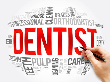 Dentist word cloud collage, health concept background Foto de archivo