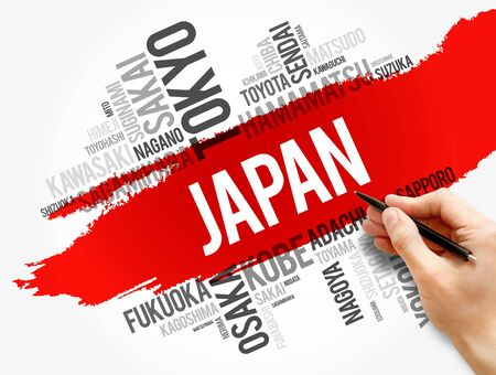 List of cities in Japan, word cloud collage, travel concept background 免版税图像