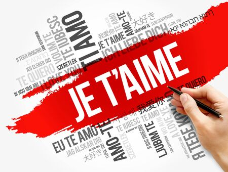 Je t'aime (I Love You in French) in different languages of the world, word cloud background Zdjęcie Seryjne